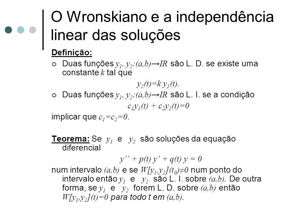 O Wronskiano e a independência linear das soluções Definição: Duas funções y 1, y 2 :(a,b)→IR são L. D. se existe uma constante k tal que y 2 (t)=k y