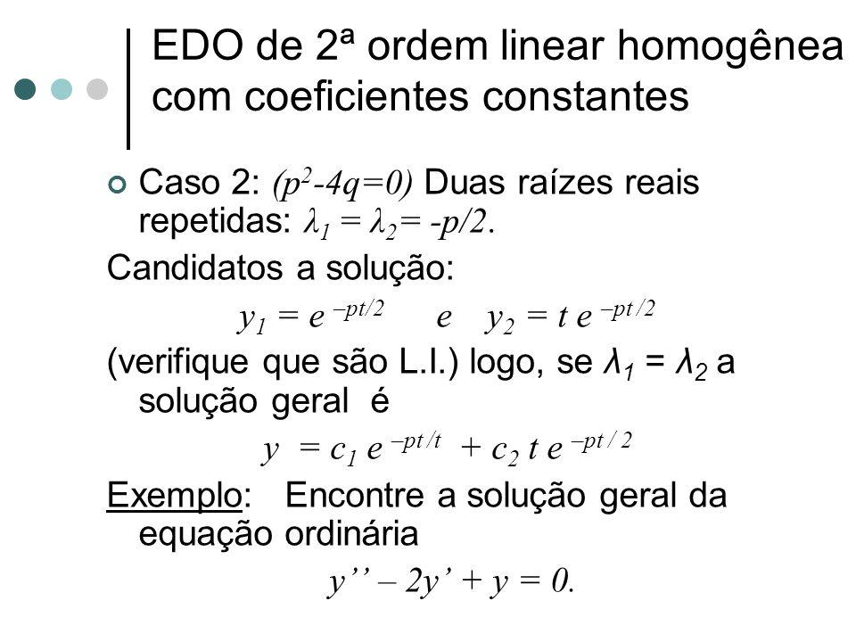 Caso 3: (p 2 -4q<0) Duas raízes complexas conjugadas λ 1 = a+bi e λ 2 = a-bi Candidatos a solução: y 1 = e (a+bi)t e y 2 = e (a-bi)t (verifique que são L.I.) logo qualquer combinação linear de y 1 e y 2 é.