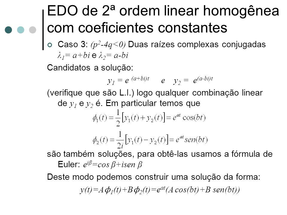 Exemplo: Encontre a solução geral da equação ordinária y''+ y = 0.