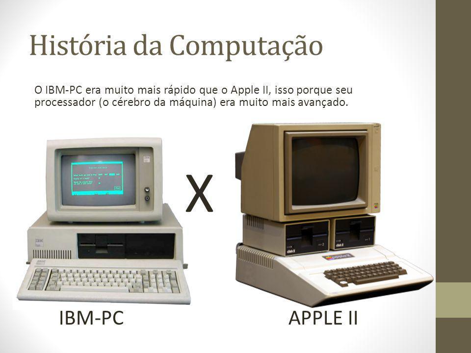 História da Computação O IBM-PC era muito mais rápido que o Apple II, isso porque seu processador (o cérebro da máquina) era muito mais avançado. X IB