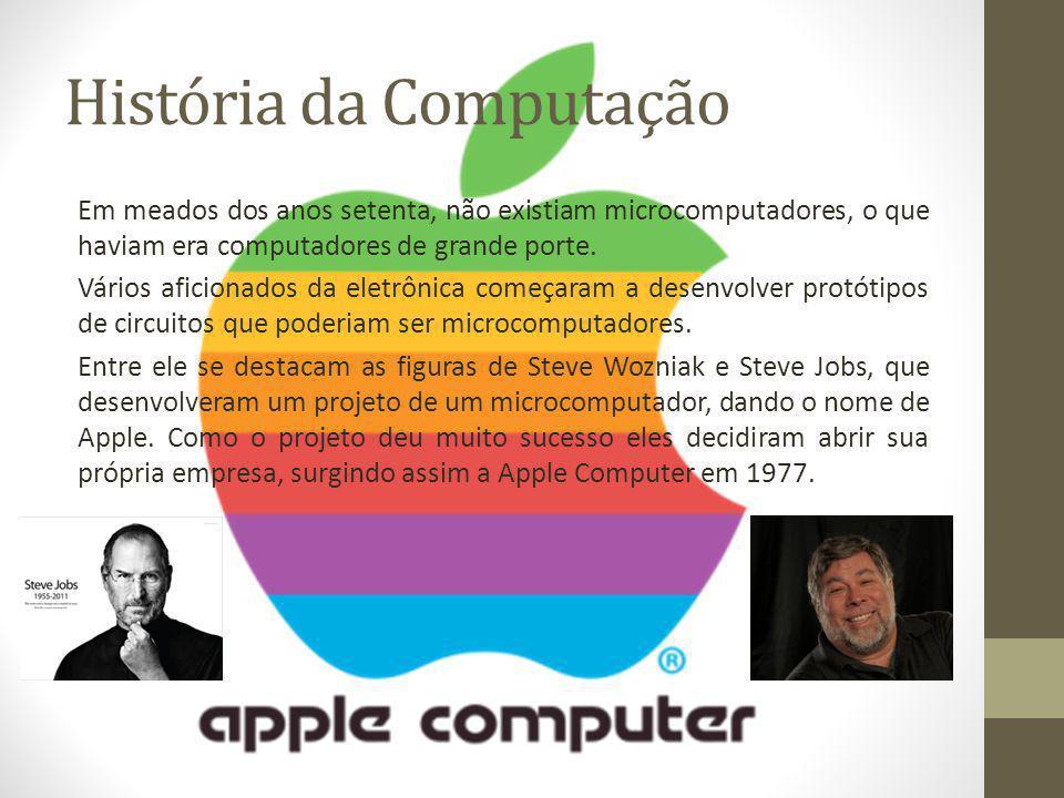 História da Computação Em meados dos anos setenta, não existiam microcomputadores, o que haviam era computadores de grande porte. Vários aficionados d