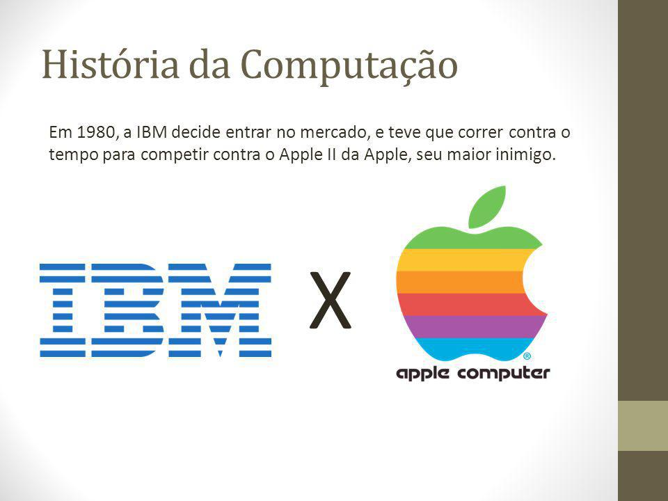 História da Computação Em 1980, a IBM decide entrar no mercado, e teve que correr contra o tempo para competir contra o Apple II da Apple, seu maior i