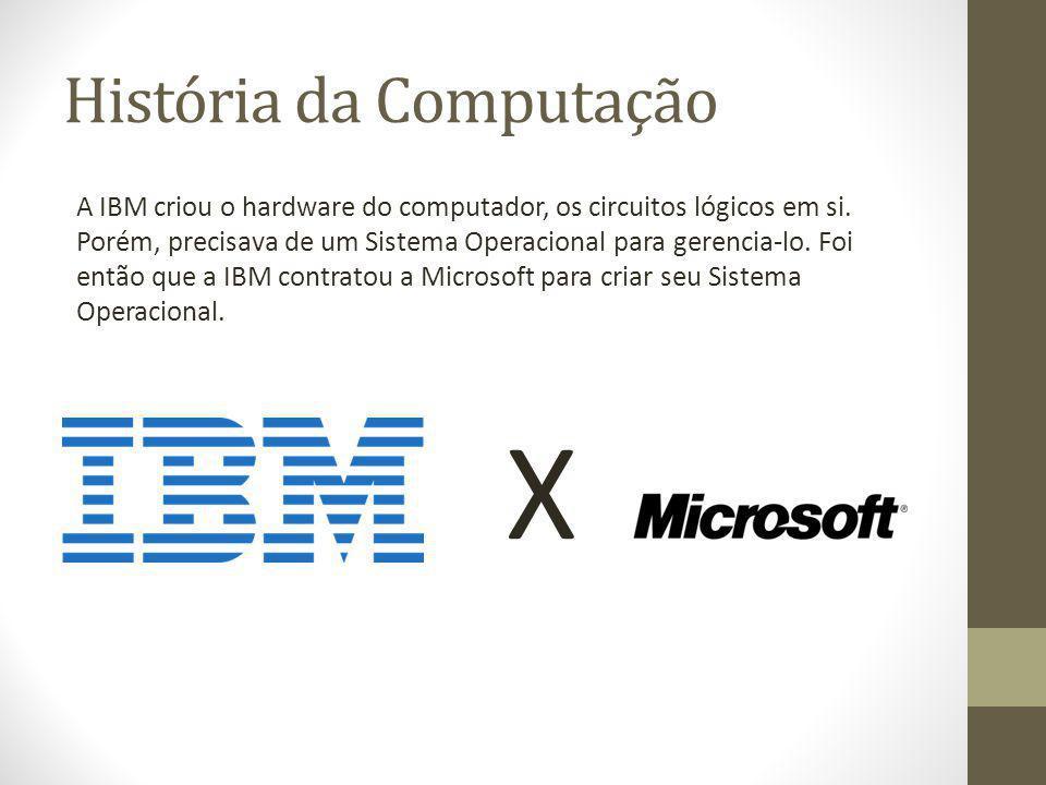 História da Computação A IBM criou o hardware do computador, os circuitos lógicos em si. Porém, precisava de um Sistema Operacional para gerencia-lo.