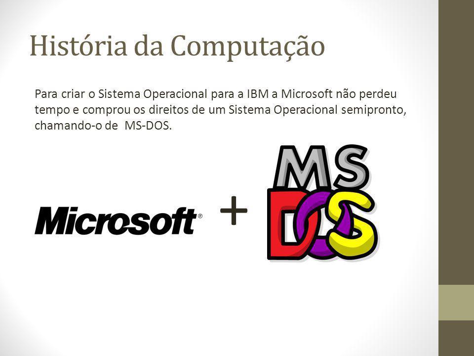 História da Computação Para criar o Sistema Operacional para a IBM a Microsoft não perdeu tempo e comprou os direitos de um Sistema Operacional semipr