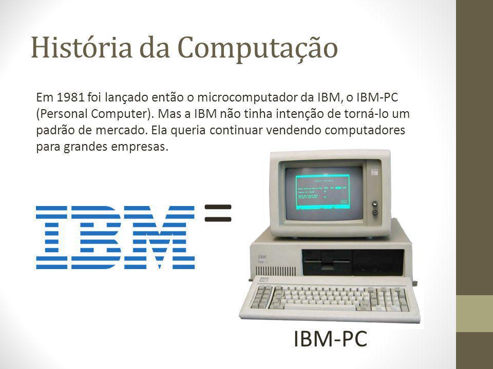 História da Computação Em 1981 foi lançado então o microcomputador da IBM, o IBM-PC (Personal Computer). Mas a IBM não tinha intenção de torná-lo um p