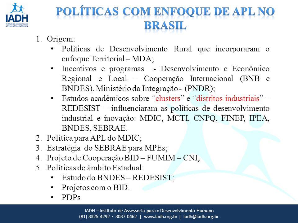 IADH – Instituto de Assessoria para o Desenvolvimento Humano (81) 3325-4292 · 3037-0462 | www.iadh.org.br | iadh@iadh.org.br 1.Origem: Políticas de De