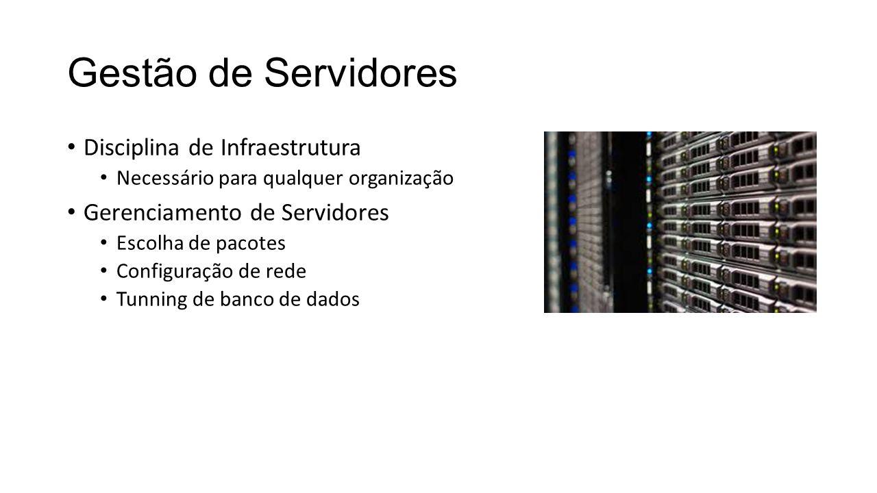 Gestão de Servidores Disciplina de Infraestrutura Necessário para qualquer organização Gerenciamento de Servidores Escolha de pacotes Configuração de rede Tunning de banco de dados