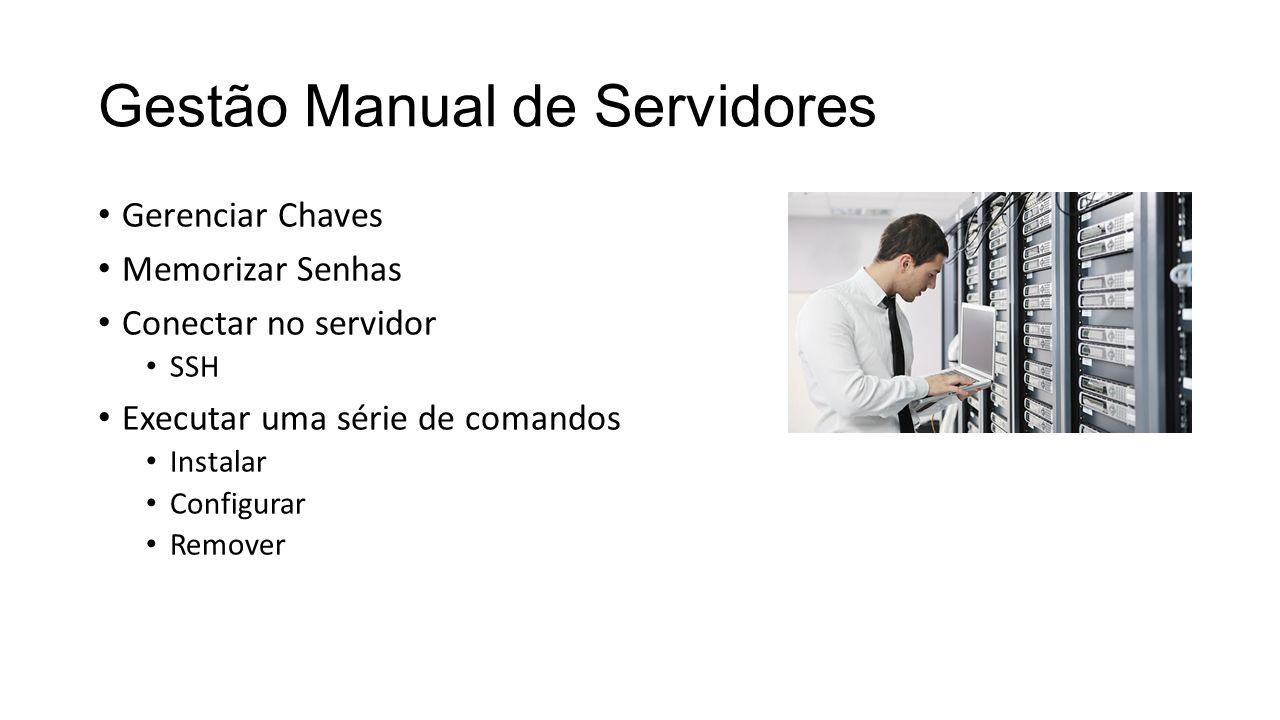 Gestão Manual de Servidores Gerenciar Chaves Memorizar Senhas Conectar no servidor SSH Executar uma série de comandos Instalar Configurar Remover