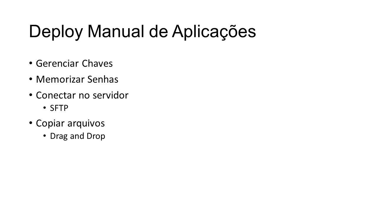 Deploy Manual de Aplicações Gerenciar Chaves Memorizar Senhas Conectar no servidor SFTP Copiar arquivos Drag and Drop