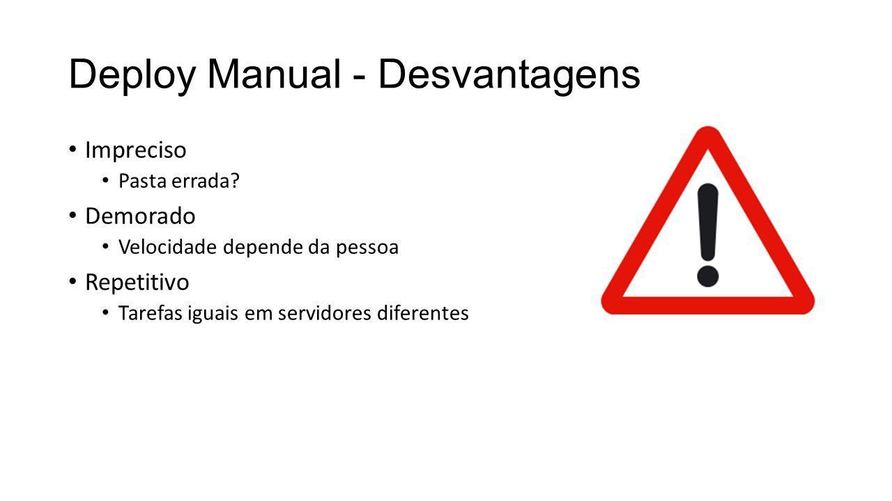 Deploy Manual - Desvantagens Impreciso Pasta errada? Demorado Velocidade depende da pessoa Repetitivo Tarefas iguais em servidores diferentes