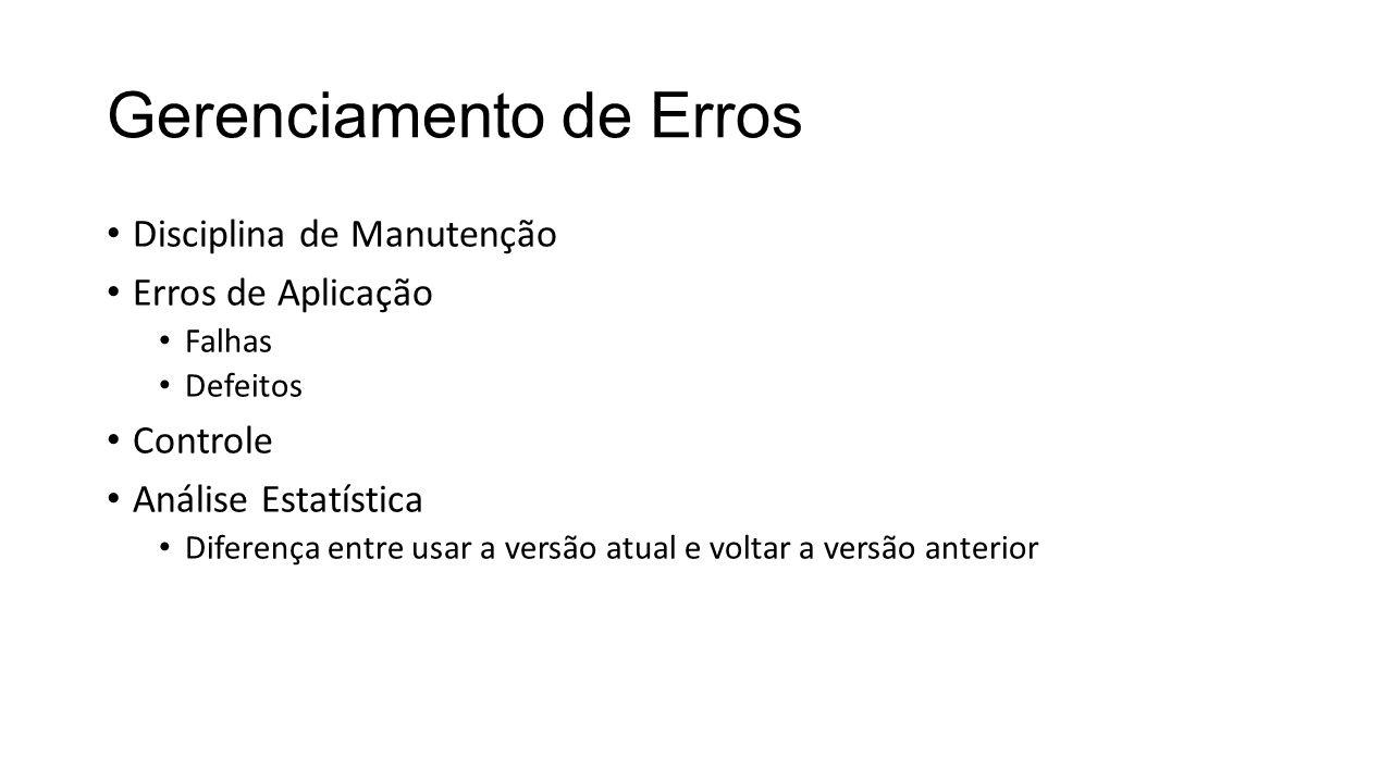 Gerenciamento de Erros Disciplina de Manutenção Erros de Aplicação Falhas Defeitos Controle Análise Estatística Diferença entre usar a versão atual e voltar a versão anterior
