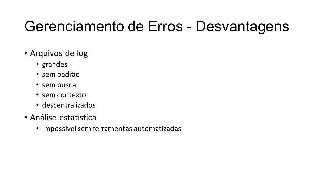 Gerenciamento de Erros - Desvantagens Arquivos de log grandes sem padrão sem busca sem contexto descentralizados Análise estatística Impossível sem ferramentas automatizadas