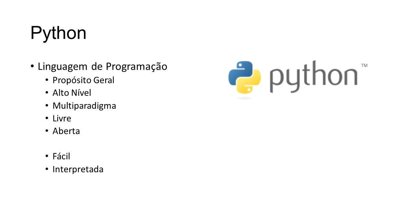 Python Linguagem de Programação Propósito Geral Alto Nível Multiparadigma Livre Aberta Fácil Interpretada