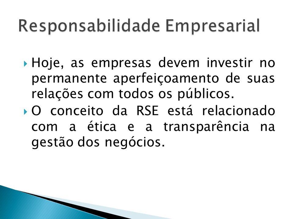  Hoje, as empresas devem investir no permanente aperfeiçoamento de suas relações com todos os públicos.  O conceito da RSE está relacionado com a ét