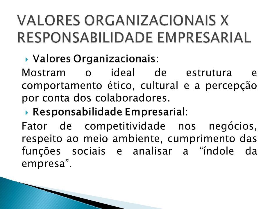  Valores Organizacionais: Mostram o ideal de estrutura e comportamento ético, cultural e a percepção por conta dos colaboradores.  Responsabilidade