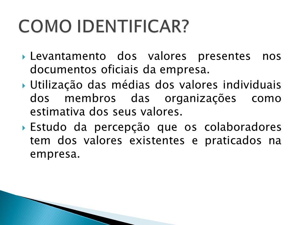  Levantamento dos valores presentes nos documentos oficiais da empresa.  Utilização das médias dos valores individuais dos membros das organizações