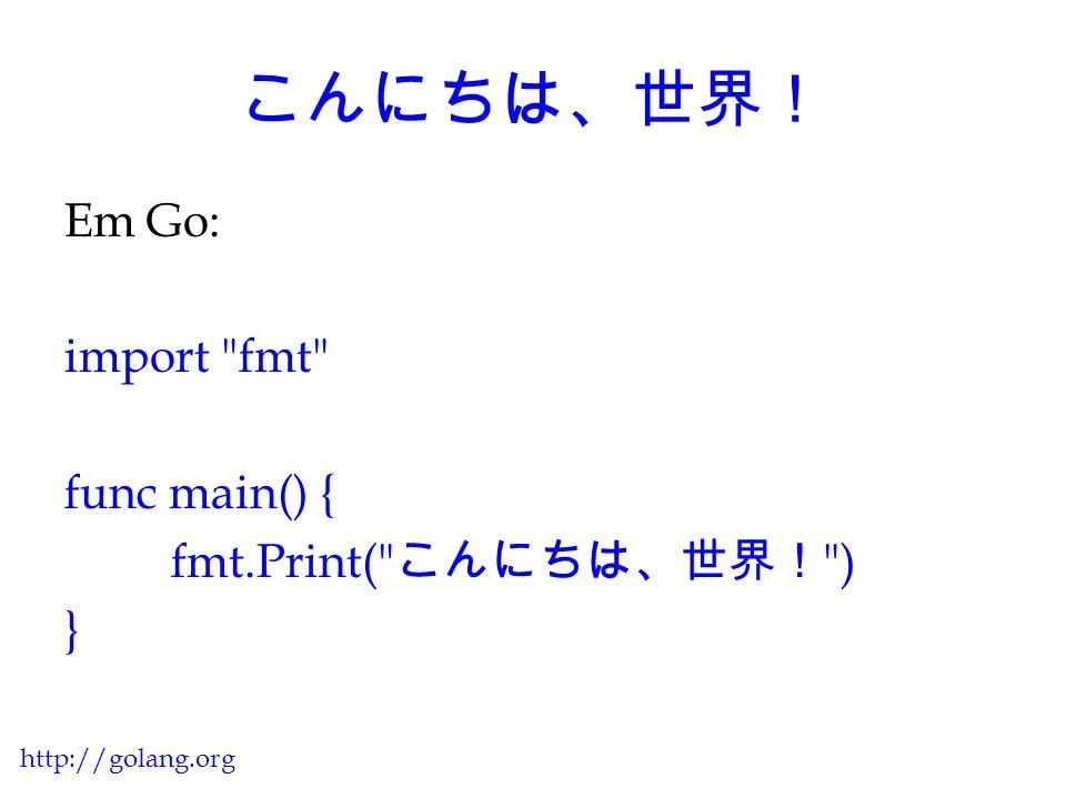 Básico da Linguagem É baseada em C com participação da família Pascal / Modula / Oberon (declarações, pacotes), além de algumas idéias de linguagens inspiradas por Tony Hoare (simultaneidade) http://golang.org