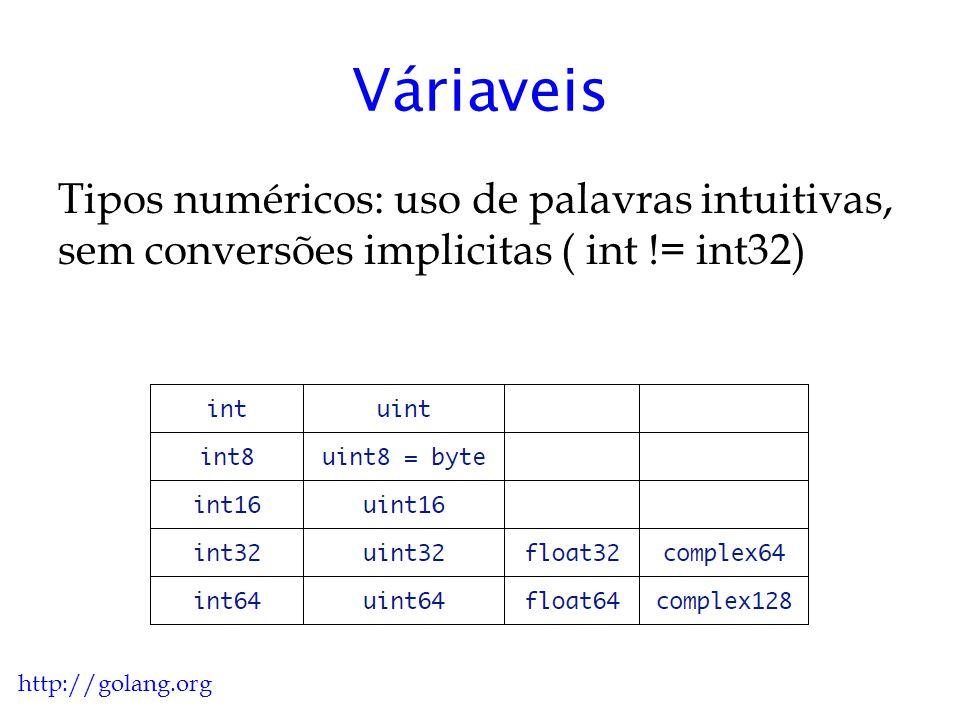 Váriaveis Booleanos: o tipo bool pode assumir os valores true ou false, o operador if usa apenas expressões booleanas, ponteiros e inteiros não são booleanos.