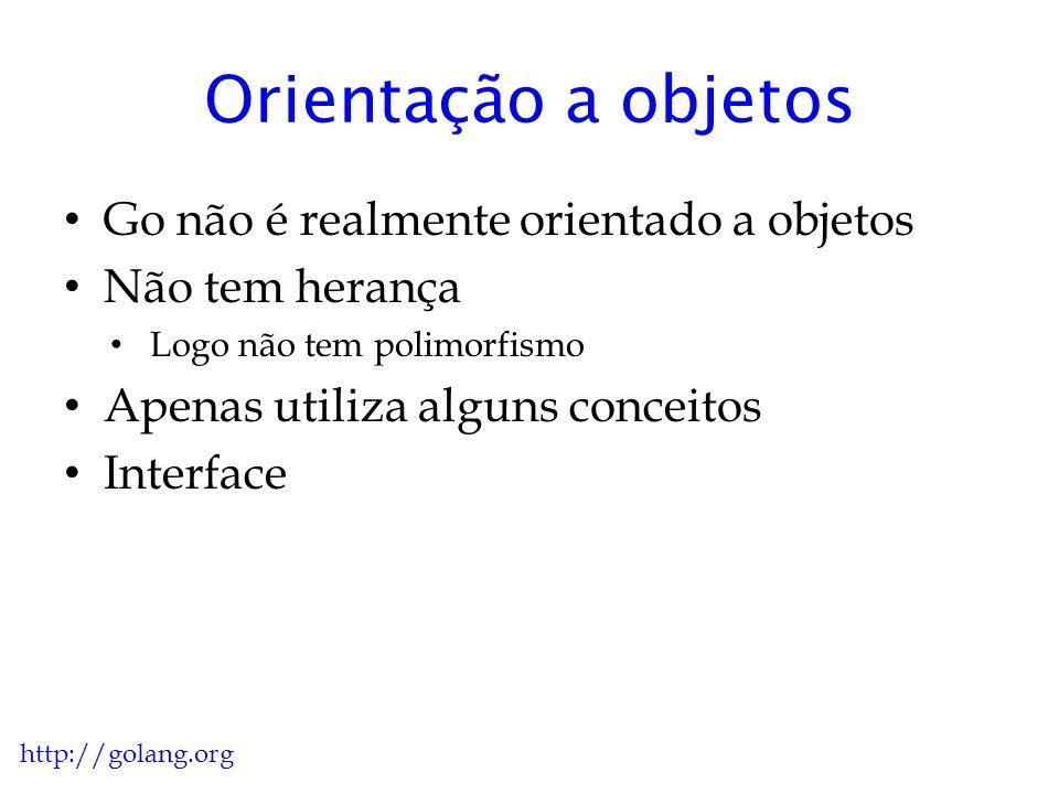Orientação a objetos (Java) public class C1 /*extendsObject*/{ //lista de atributos //construtor //metodos //classes internas } http://golang.org