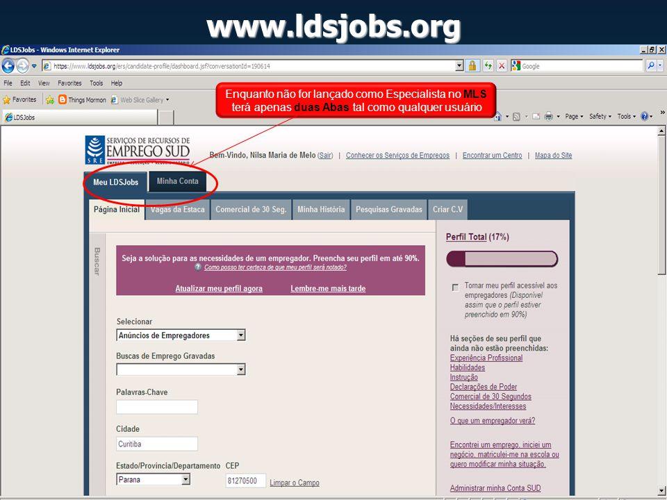 www.ldsjobs.org Enquanto não for lançado como Especialista no MLS terá apenas duas Abas tal como qualquer usuário