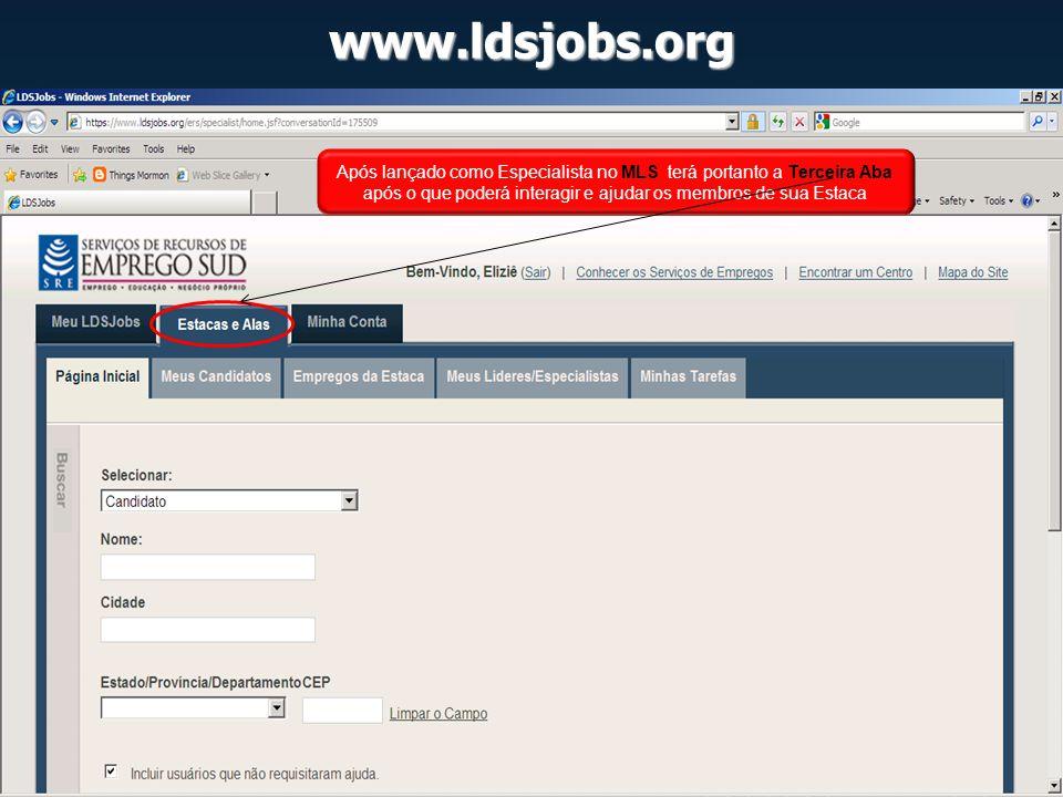 www.ldsjobs.org Após lançado como Especialista no MLS terá portanto a Terceira Aba após o que poderá interagir e ajudar os membros de sua Estaca