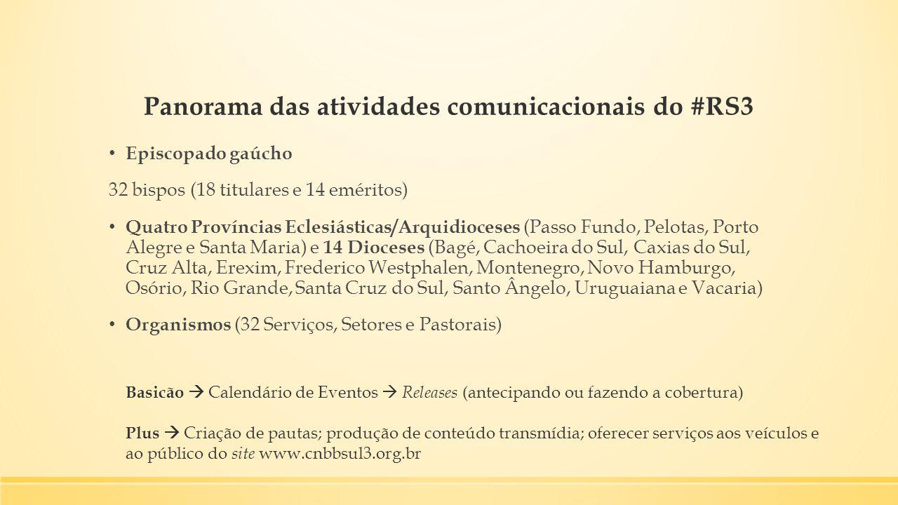 Panorama das atividades comunicacionais do #RS3 Episcopado gaúcho 32 bispos (18 titulares e 14 eméritos) Quatro Províncias Eclesiásticas/Arquidioceses