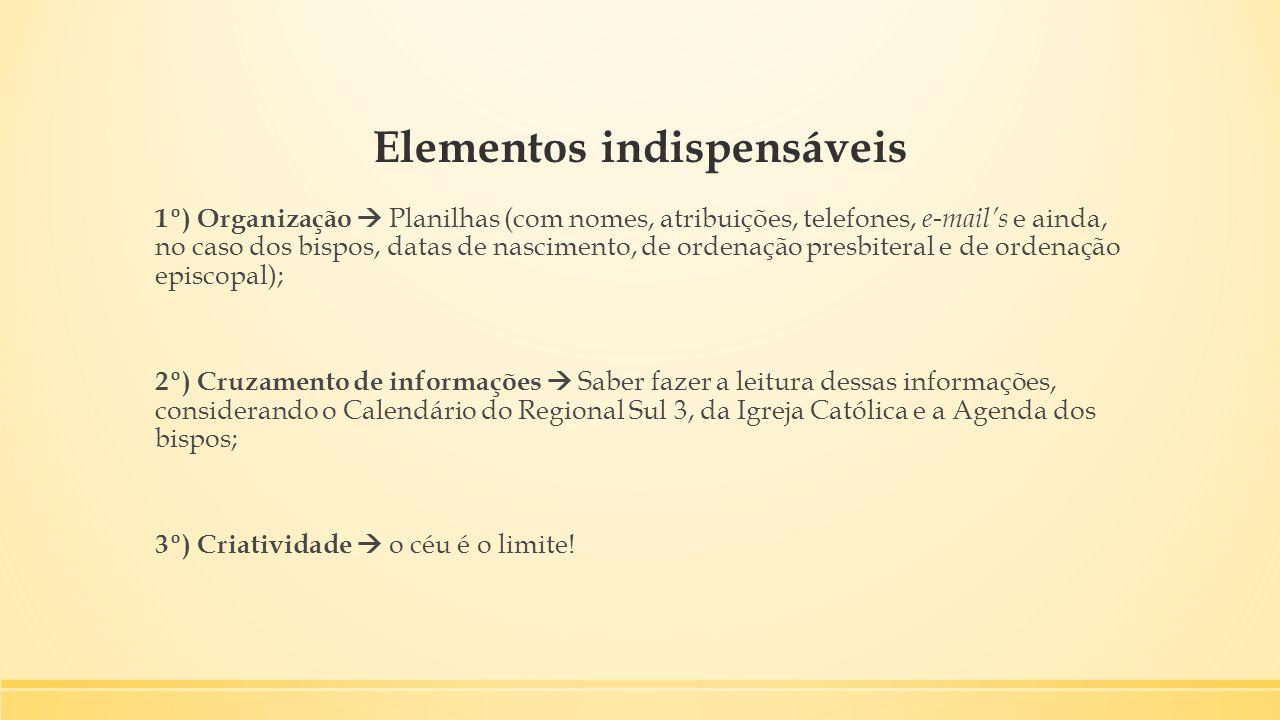 Elementos indispensáveis 1º) Organização  Planilhas (com nomes, atribuições, telefones, e-mail's e ainda, no caso dos bispos, datas de nascimento, de