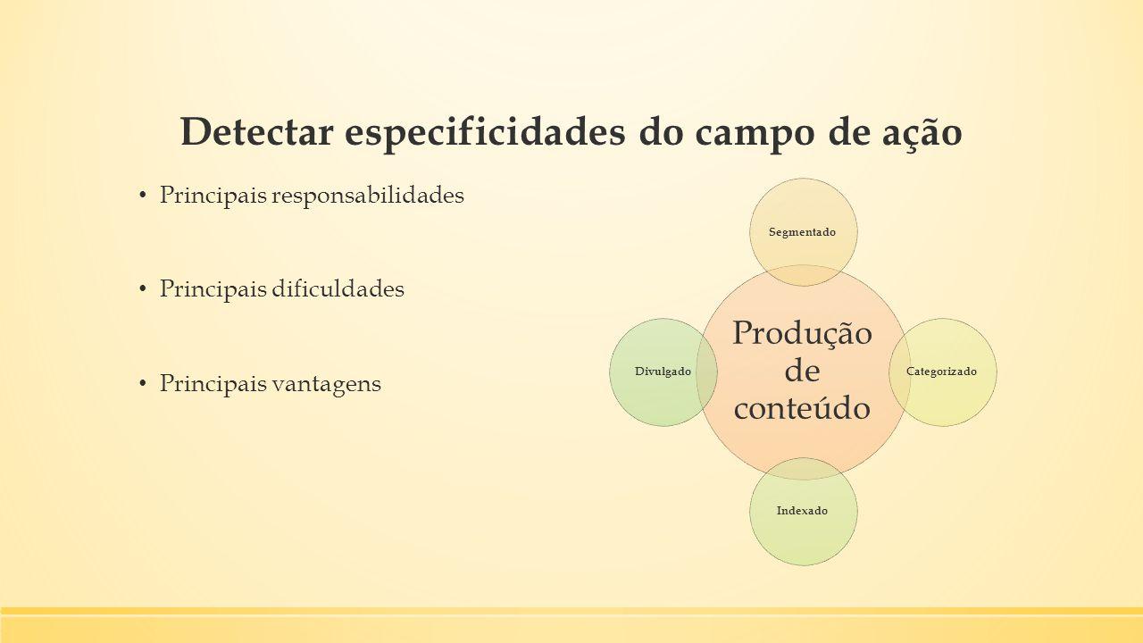 Detectar especificidades do campo de ação Principais responsabilidades Principais dificuldades Principais vantagens Produção de conteúdo SegmentadoCat
