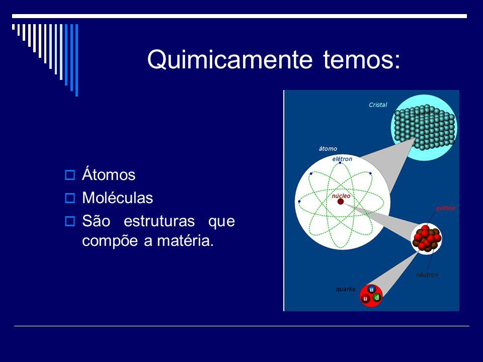 Quimicamente temos:  Átomos  Moléculas  São estruturas que compõe a matéria.