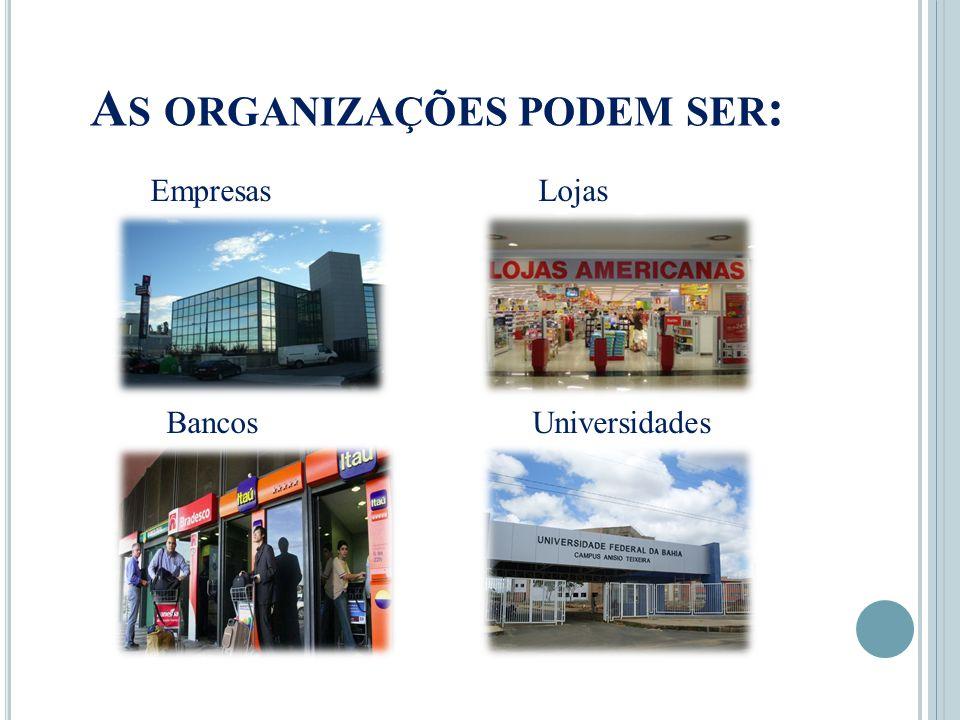 A S ORGANIZAÇÕES PODEM SER : Empresas Lojas Bancos Universidades