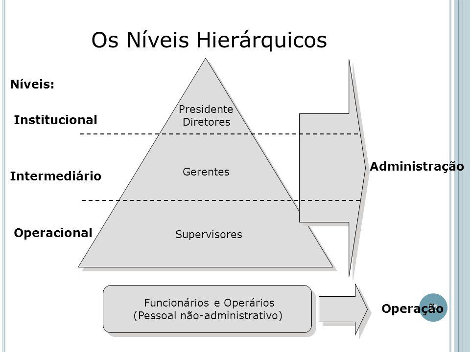 15 Os Níveis Hierárquicos Níveis: Institucional Intermediário Operacional Presidente Diretores Gerentes Supervisores Administração Operação Funcionários e Operários (Pessoal não-administrativo) Funcionários e Operários (Pessoal não-administrativo)