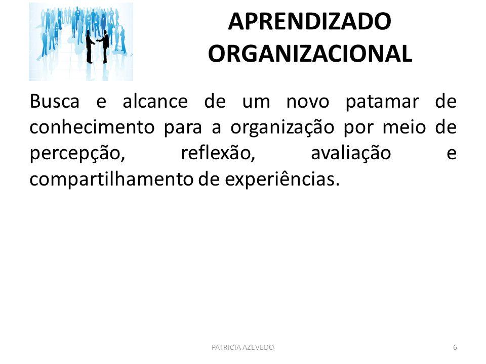 APRENDIZADO ORGANIZACIONAL Busca e alcance de um novo patamar de conhecimento para a organização por meio de percepção, reflexão, avaliação e comparti
