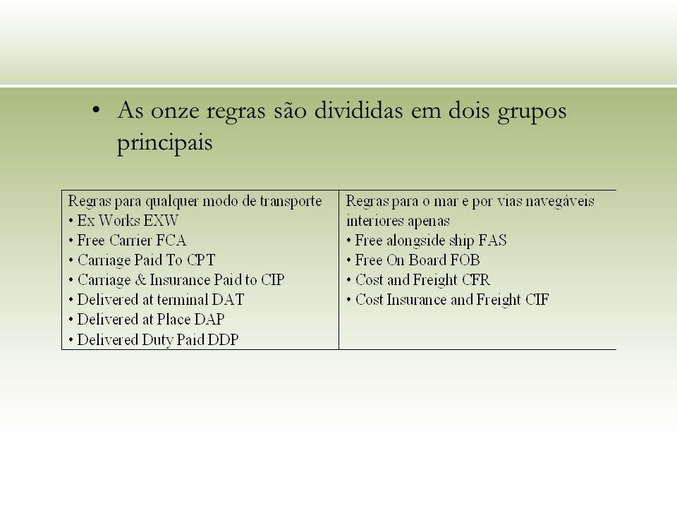 As onze regras são divididas em dois grupos principais