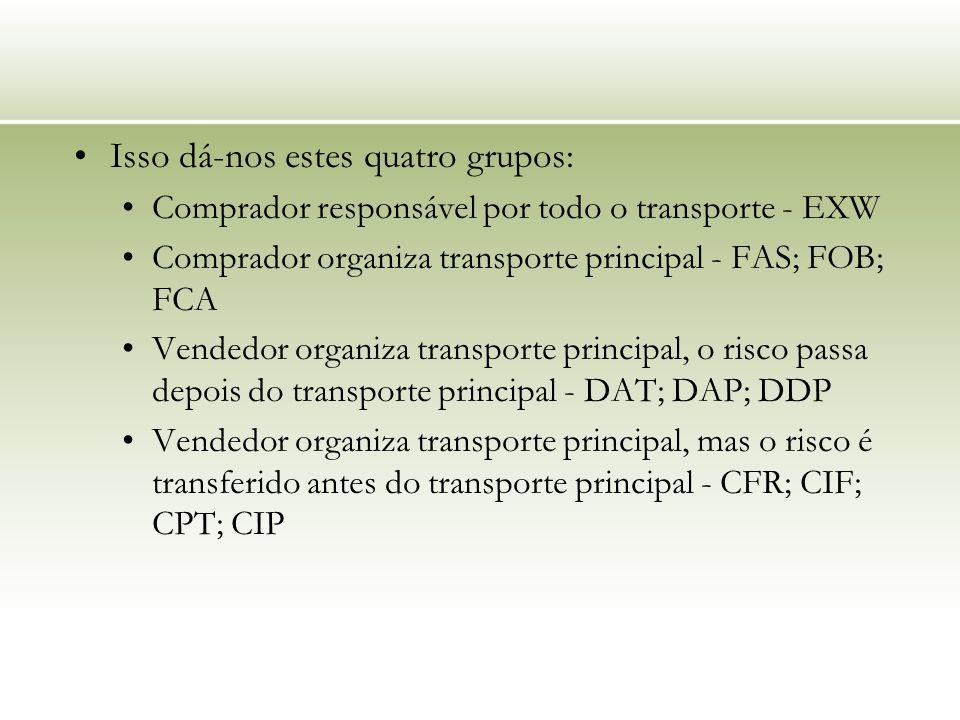 Isso dá-nos estes quatro grupos: Comprador responsável por todo o transporte - EXW Comprador organiza transporte principal - FAS; FOB; FCA Vendedor organiza transporte principal, o risco passa depois do transporte principal - DAT; DAP; DDP Vendedor organiza transporte principal, mas o risco é transferido antes do transporte principal - CFR; CIF; CPT; CIP