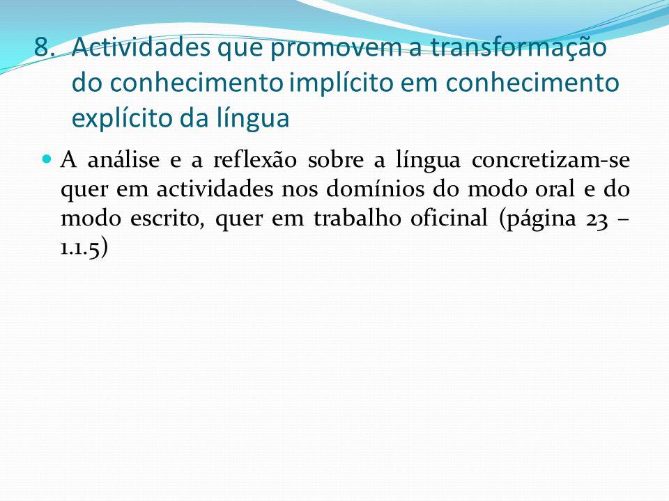 8.Actividades que promovem a transformação do conhecimento implícito em conhecimento explícito da língua A análise e a reflexão sobre a língua concretizam-se quer em actividades nos domínios do modo oral e do modo escrito, quer em trabalho oficinal (página 23 – 1.1.5)