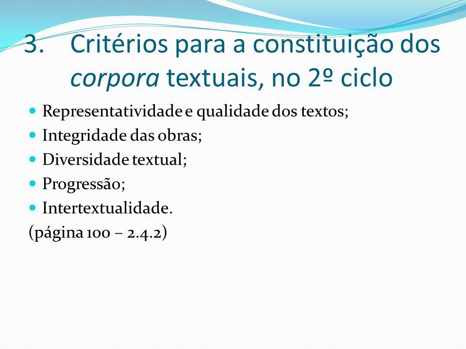 3.Critérios para a constituição dos corpora textuais, no 2º ciclo Representatividade e qualidade dos textos; Integridade das obras; Diversidade textual; Progressão; Intertextualidade.
