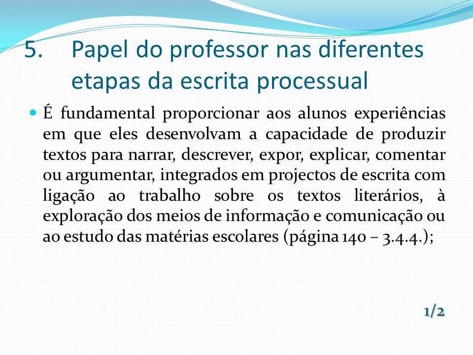 5.Papel do professor nas diferentes etapas da escrita processual É fundamental proporcionar aos alunos experiências em que eles desenvolvam a capacida