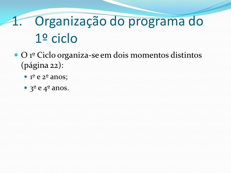 1.Organização do programa do 2º Ciclo do ensino básico A gestão dos percursos de aprendizagem assentará no equilíbrio entre a estabilização e a consolidação de determinados saberes, a aquisição, o alargamento e o aprofundamento de outros (página 73/74 – 2.1.1).