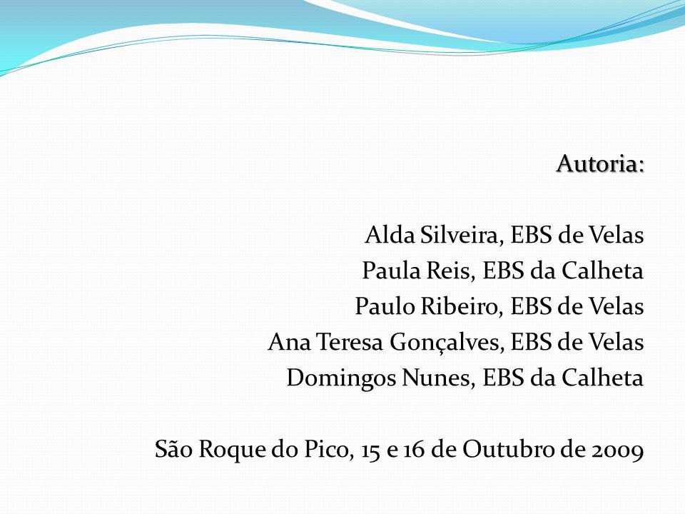 Autoria: Alda Silveira, EBS de Velas Paula Reis, EBS da Calheta Paulo Ribeiro, EBS de Velas Ana Teresa Gonçalves, EBS de Velas Domingos Nunes, EBS da