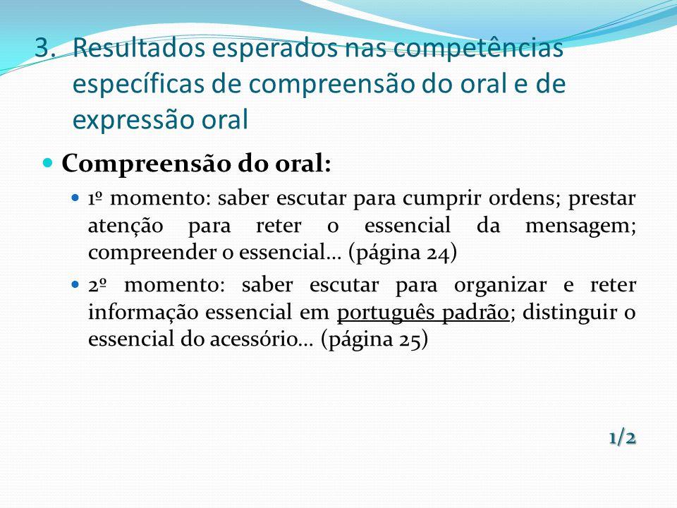 Expressão oral 1º momento: falar de forma clara e audível; esperar a sua vez; formular pedidos e perguntas; narrar situações vividas e imaginadas (página 24).