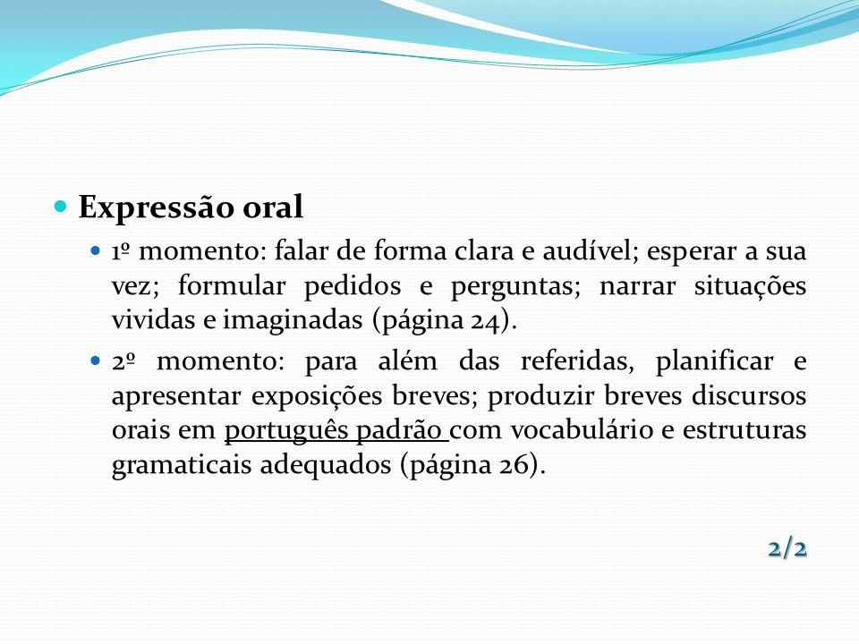 Expressão oral 1º momento: falar de forma clara e audível; esperar a sua vez; formular pedidos e perguntas; narrar situações vividas e imaginadas (pág