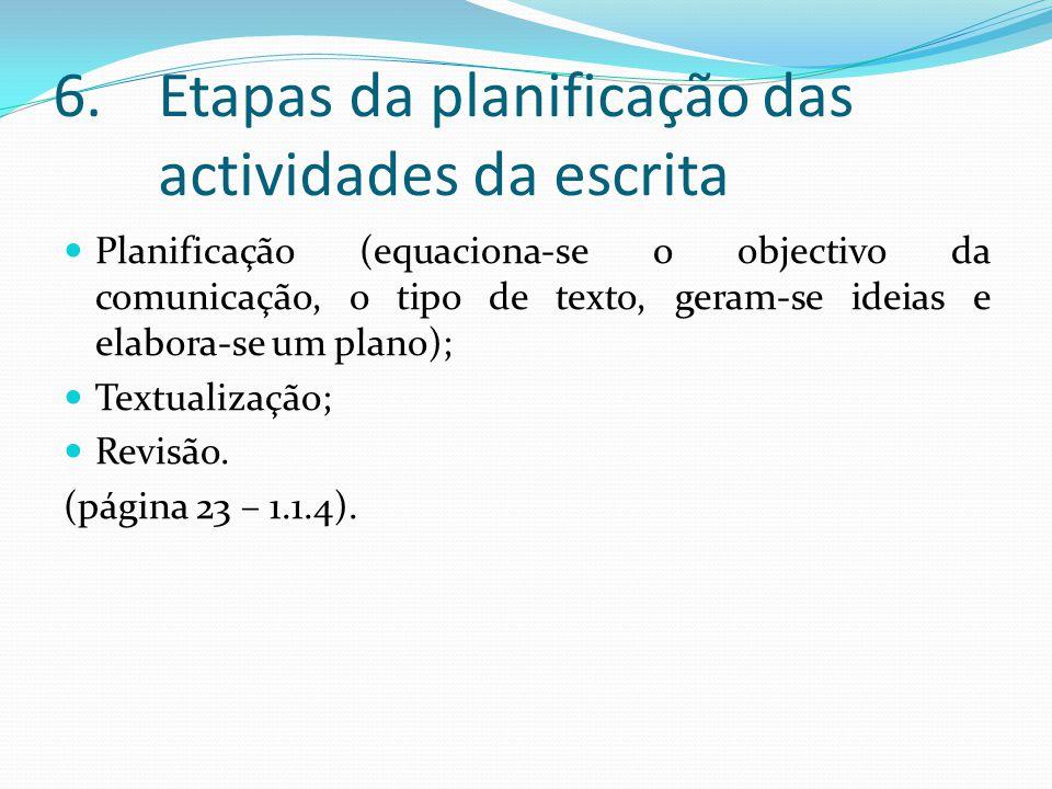 6.Etapas da planificação das actividades da escrita Planificação (equaciona-se o objectivo da comunicação, o tipo de texto, geram-se ideias e elabora-