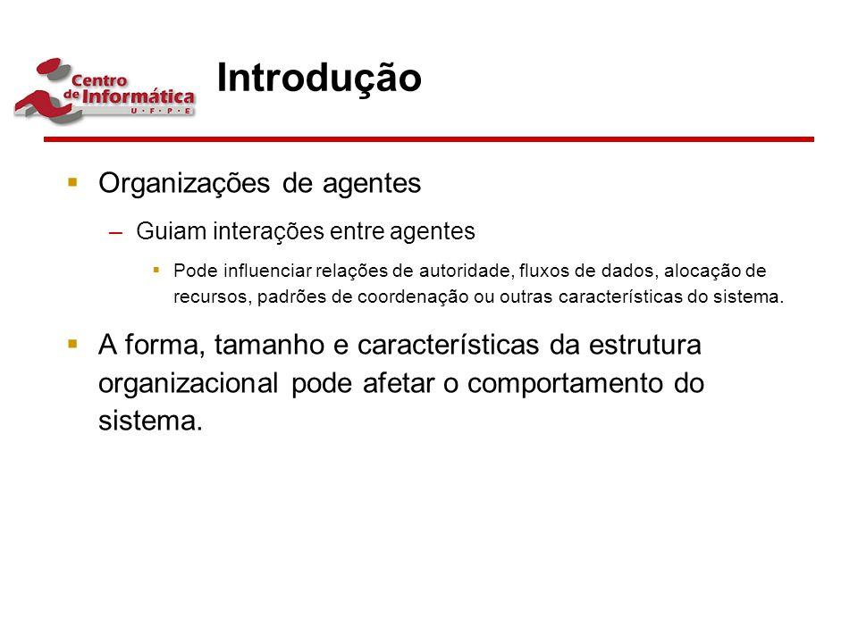Introdução  Organizações de agentes –Guiam interações entre agentes  Pode influenciar relações de autoridade, fluxos de dados, alocação de recursos,