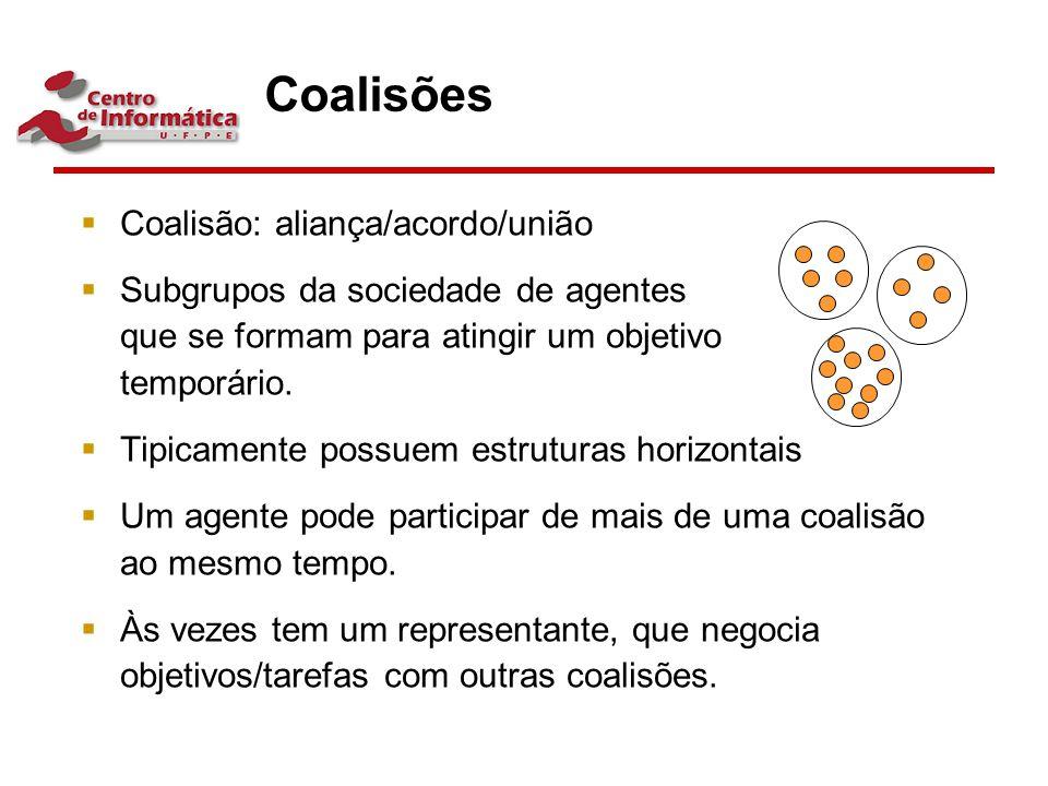 Coalisões  Coalisão: aliança/acordo/união  Subgrupos da sociedade de agentes que se formam para atingir um objetivo temporário.  Tipicamente possue