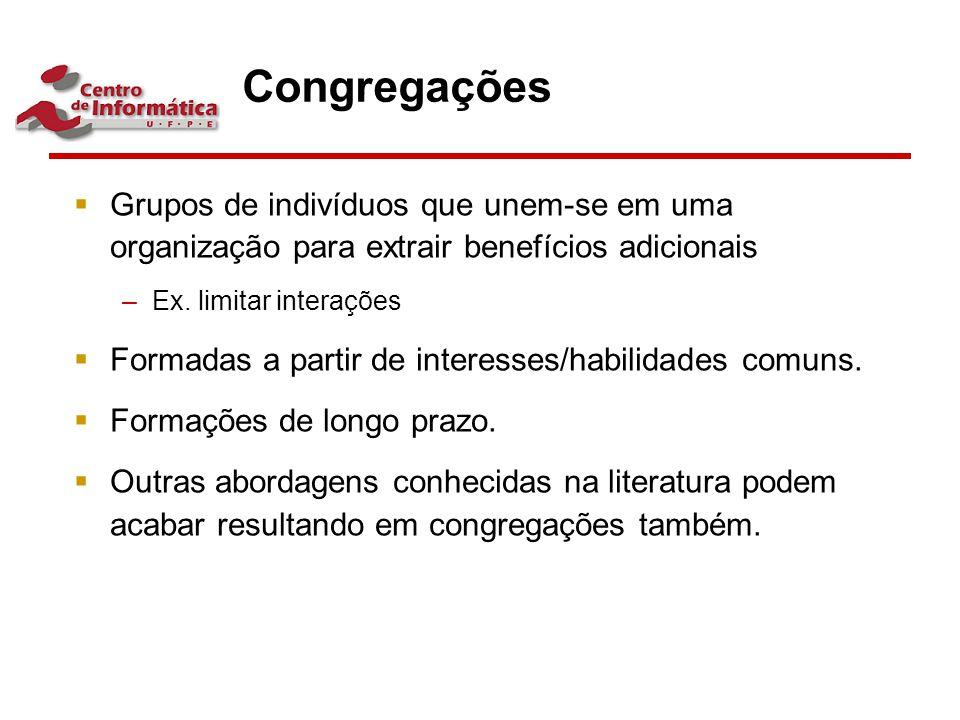 Congregações  Grupos de indivíduos que unem-se em uma organização para extrair benefícios adicionais –Ex. limitar interações  Formadas a partir de i