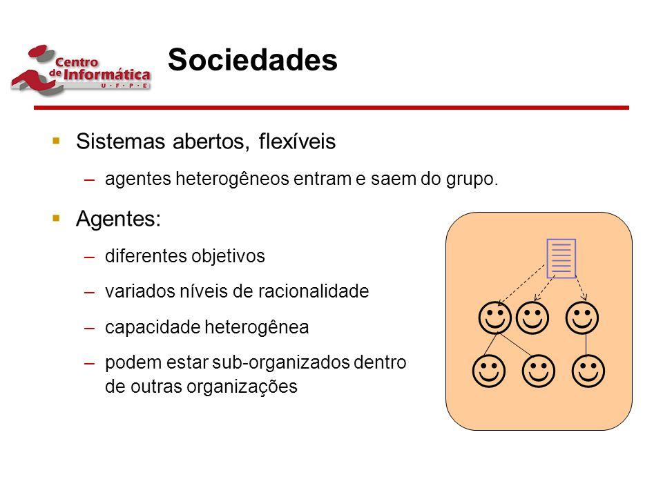 Sociedades  Sistemas abertos, flexíveis –agentes heterogêneos entram e saem do grupo.  Agentes: –diferentes objetivos –variados níveis de racionalid