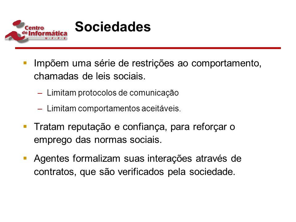Sociedades  Impõem uma série de restrições ao comportamento, chamadas de leis sociais. –Limitam protocolos de comunicação –Limitam comportamentos ace