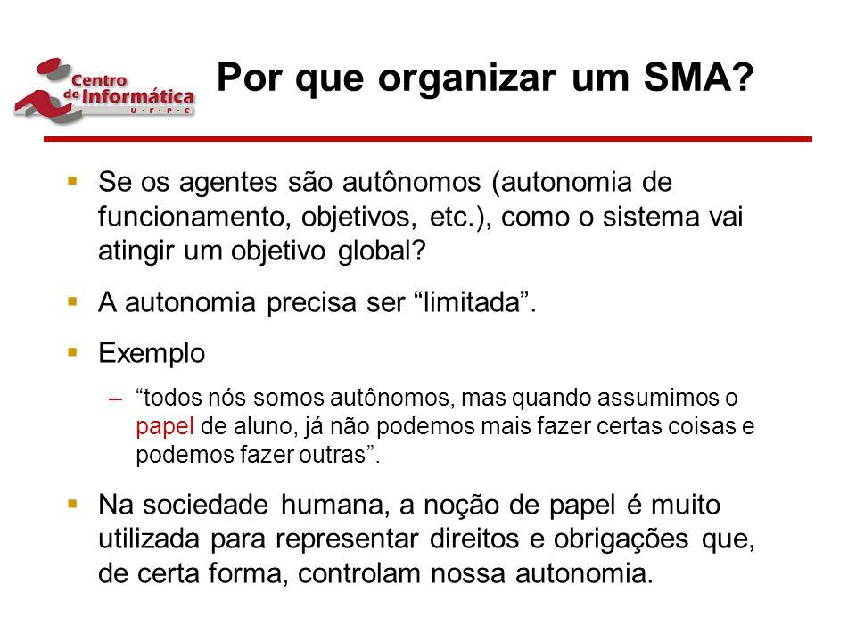 Por que organizar um SMA?  Se os agentes são autônomos (autonomia de funcionamento, objetivos, etc.), como o sistema vai atingir um objetivo global?