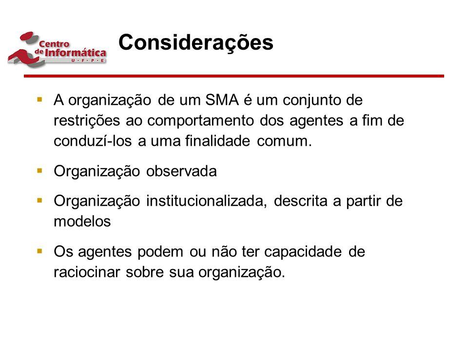 Considerações  A organização de um SMA é um conjunto de restrições ao comportamento dos agentes a fim de conduzí-los a uma finalidade comum.  Organiza