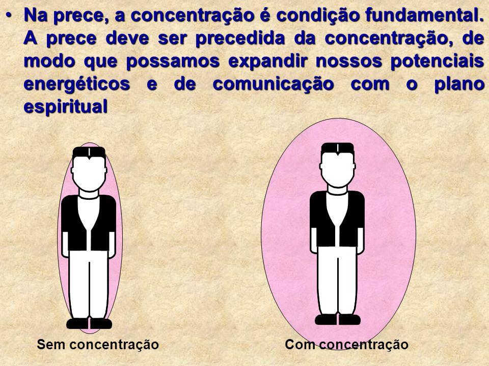 Na prece, a concentração é condição fundamental. A prece deve ser precedida da concentração, de modo que possamos expandir nossos potenciais energétic